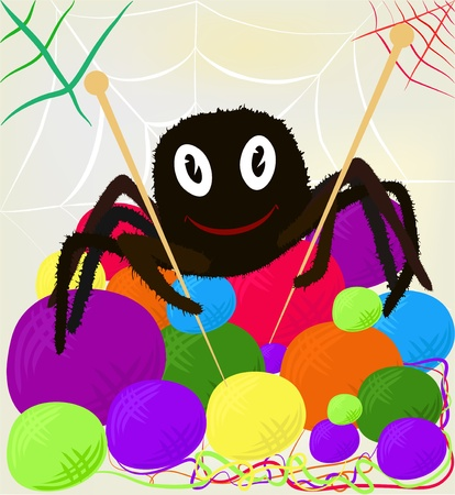 Cheerful spider with knitting needles and clews