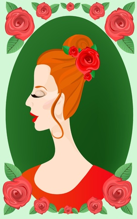 Beautiful womans face in a round rose decorated frame. Vector