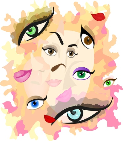 Abstract vector illustration representing different parts of face