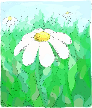 Bright colorful camomile illustration in dotted technique  Stock Vector - 12807236