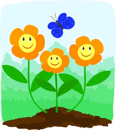 flowerbed: Funny orange smiling flowers and blue butterfly