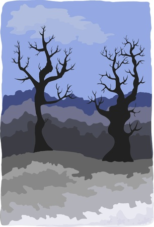 fanciful: Gloomy landscape with fanciful trees  Illustration