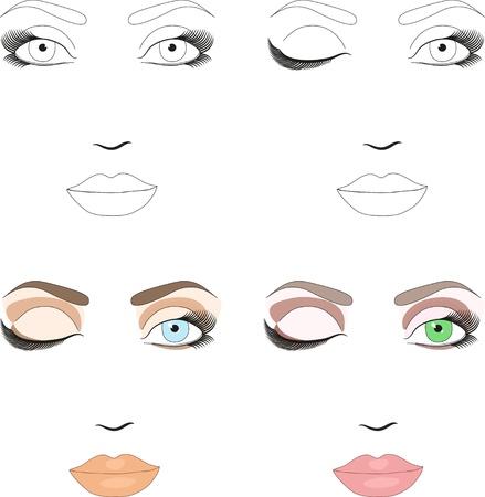 Las muestras de esquema de la mujer frente a la aplicación de maquillaje Set de maquillaje clásicos patrones de día Ilustración de vector
