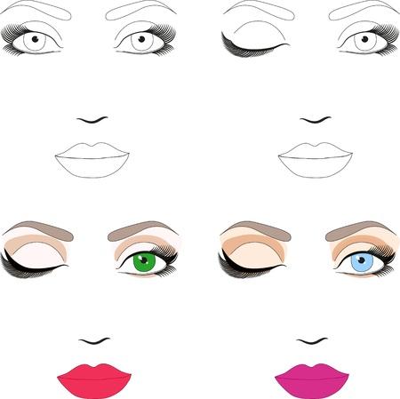 visage: Las muestras de esquema de la mujer frente a la aplicaci�n de maquillaje Juego de patrones cl�sicos de maquillaje de noche