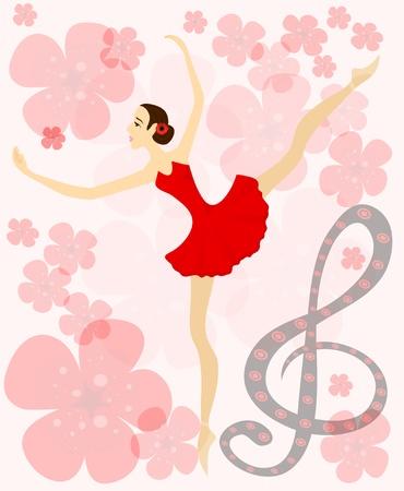 Graceful ballerina in red on musical flower background