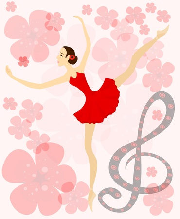 Graceful ballerina in red on musical flower background