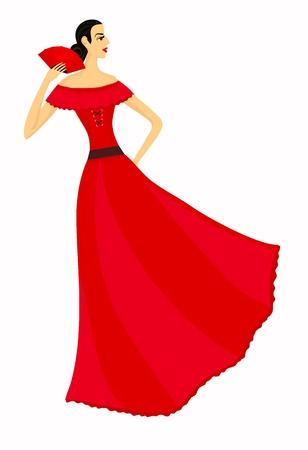 flamenca bailarina: Hermosa bailarina de flamenco en rojo