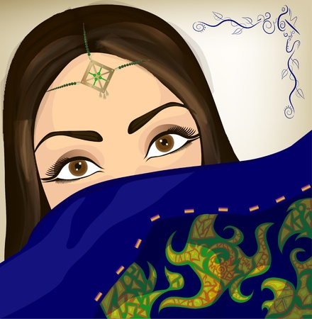 Beautiful oriental woman with ornament and colorful embroidered shawl  Vector