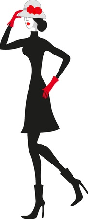 Fashionable elegant contrast black and red woman   Vector