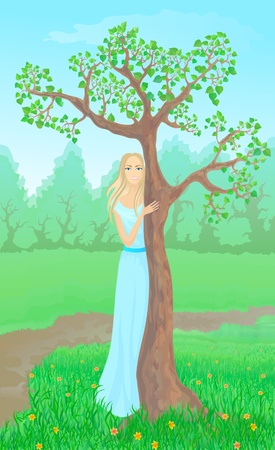 Beautiful young woman beside tree against the green sunny landscape Stock Vector - 13050402