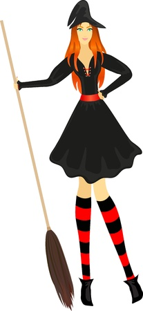 red haired person: Attractive red-haired witch with broom Illustration