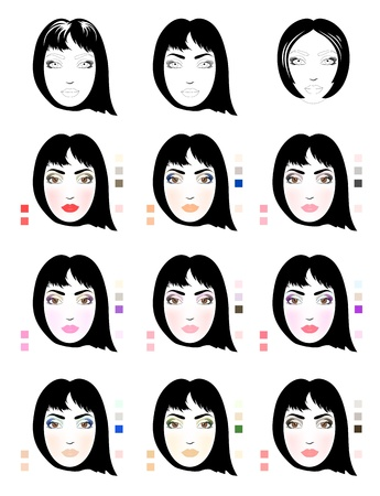 Samples of brunette woman face scheme for makeup application  Set of fashionable makeup patterns  Eps 10 photo