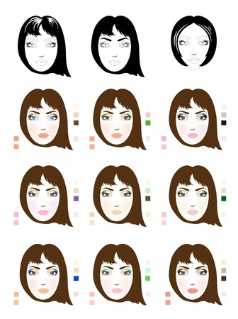 Samples of chestnut-coloured hair woman face scheme for makeup application  Set of fashionable makeup patterns  Eps 10