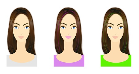 Set of three variants of hairstyle with bright colored locks  Eps 10 vector  Performed with Adobe Illustrator photo