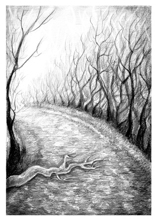 Hand drawn monochrome landscape  Performed with lead pencil