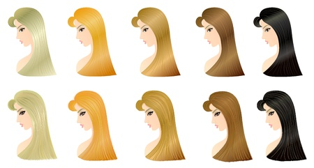 brown haired girl: Set of five woman hairstyle patterns for your design  The lower one is performed with application of Illustrator s Bristle Brush, and the upper pattern is a base model  Eps 10 Stock Photo