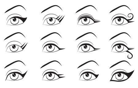 femine: Set of makeup eyeline designs  Eps 10