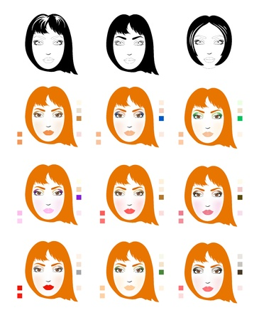 red haired woman: Samples of red-haired woman face scheme for makeup application  Set of fashionable makeup patterns  Eps 10 Stock Photo