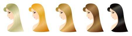 brown haired girl: Set of five blonde woman hairstyle patterns for your design, such as blonde, red, blond-brown, brown and black hair  Eps 10 Stock Photo