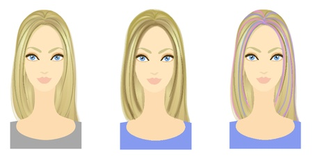 hair setting: Set of three variants of hairstyle with bright colored locks  Eps 10 vector  Performed with Adobe Illustrator Stock Photo
