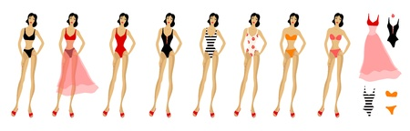 decotated: Set of beach woman clothes  Eight figure patterns
