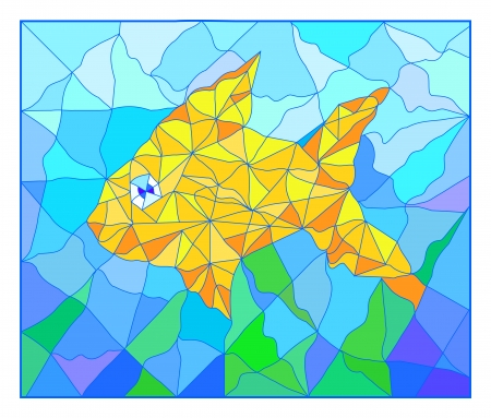 Beautiful golden fish vitrage Vector