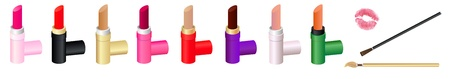 Colorful set of different lipsticks, lip brushes and a kiss imprint Vector
