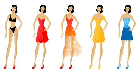Set of fashionable woman patterns  Summer fashion  Eps 10 vector illustration