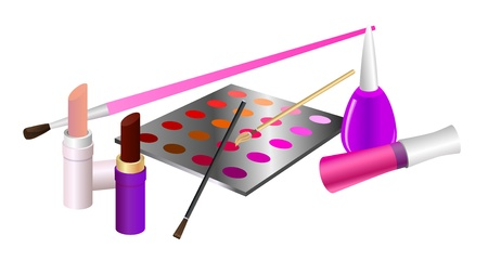 lip gloss: Cosmetic set  Lipstick, lip gloss, eye shadow palette, brush, nail enamel  Eps10 vector illustration