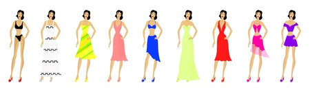 Set of fashionable woman patterns and a model  Summer fashion  Eps 10 vector illustration