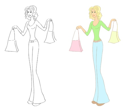 admirable: Sketch of a woman with purchase bags  Shopping subject matter  Eps10 vector illustration