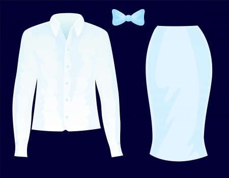chemise: Set of clothes, such as chemise, skirt and bow tie