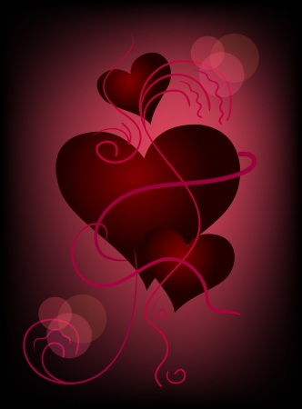 Three hearts on dark crimson background  Vector