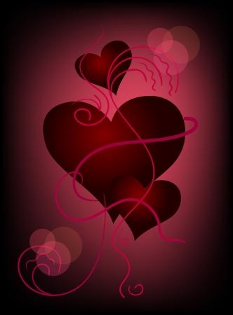 raspberry pink: Three hearts on dark crimson background