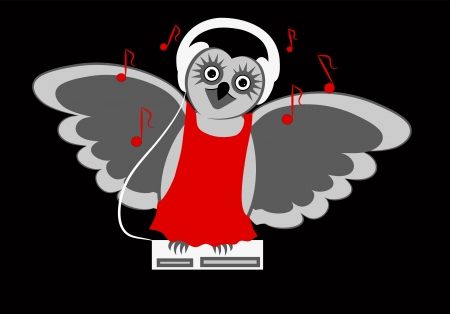 Amusing musical owl with headphones sitting on a disc center and singing Vector