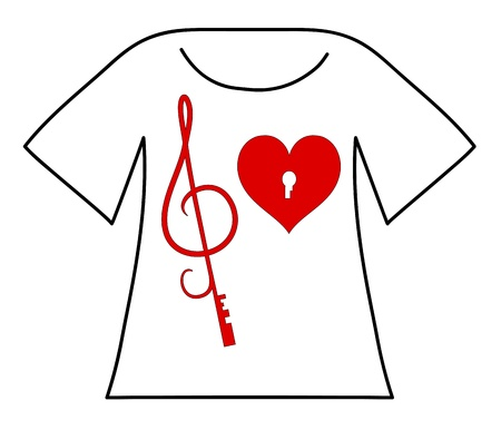 Musical design  Red heart with keyhole and key in the form of the treble clef   Vector