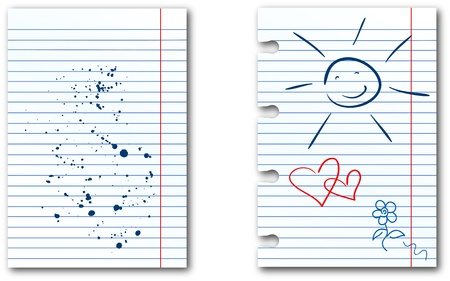 Notebook lined paper sheet with ink stains and amusing drawings Illustration