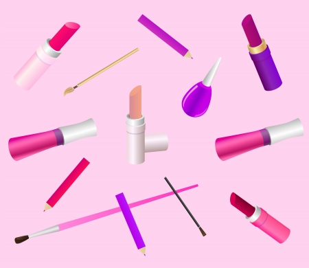 Cosmetic background in delicate pink colors  Contains different make up accessories, such as lipstick, lip gloss, brush, pencil, nail enamel