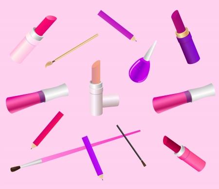 make up brush: Fondo cosm�tica en delicados colores rosa Contiene diferentes componen accesorios, tales como barras de labios, brillo de labios, cepillo, l�piz, esmalte de u�as Vectores