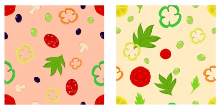 Food ingrideints seamless pattern  Contains pepper, tomato, olive, mushroom, sausage and lemon  Vector