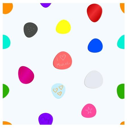 mediateur: Musique m�diateur seamless pattern Diff�rents m�diateurs h�t�roclites color�es sur fond bleu clair Illustration