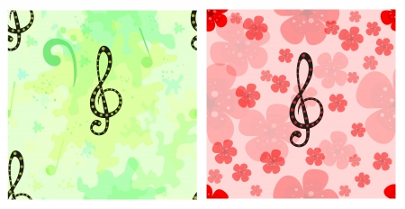 music theory: Musical seamless pattern set with decorative treble clef, bass clef and notes   Illustration