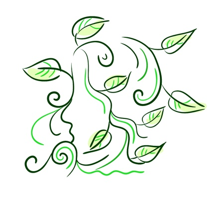 Floral stylized sketch of a girl  side view  with decorative leaves