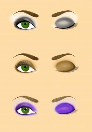 smoky eyes: Campioni di regime donna occhio per l'applicazione trucco Set di classico e sera podio trucco modelli Smoky occhi illustrazione Raster
