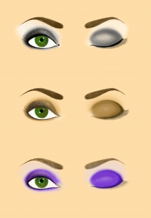 smoky eyes: Samples of woman eye scheme for makeup application  Set of classic and podium evening makeup patterns  Smoky eyes  Raster illustration