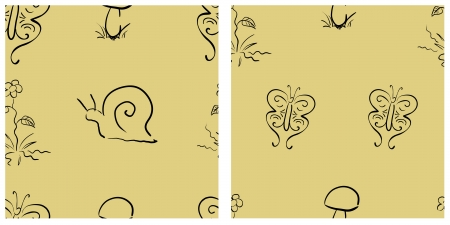 Floral seamless pattern set with flower, mushroom, butterfly and snail Vector