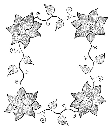 Decorative black and white frame  Flowers and leaves Illustration
