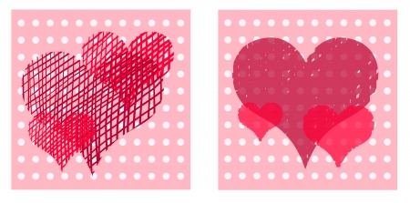Beautiful valentine cards with decorative hearts on dotted light background  Vector