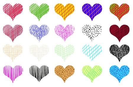 Decorative hearts of different colors set