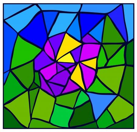 vitrage: Flower stylized vitrage bright colorful illustration